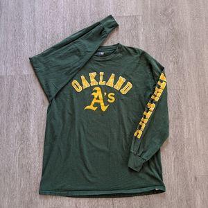 MLB Men's Oakland A's Green L/S Cotton Tee SZ L